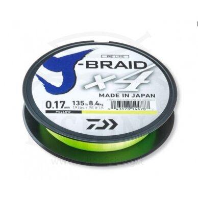 Daiwa J-Braid X4 135 m Geltonos spalvos