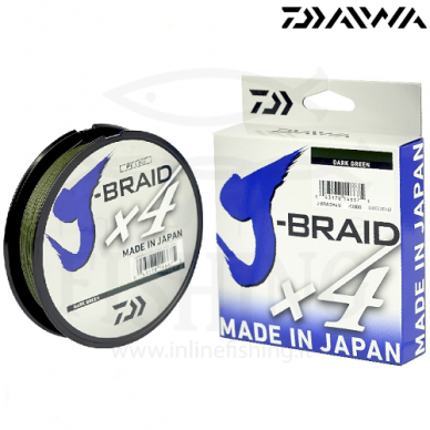 Daiwa J-Braid X4 135 m Tamsiai žalios spalvos