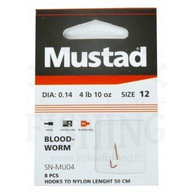 Kabliukai MUSTAD BLOOD-WORM 12 dydžio su pavadėliu 50 cm, Ø0,14 mm, 8 vnt
