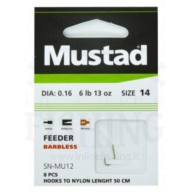 Kabliukai MUSTAD FEEDER BARBLESS 14 dydžio su pavadėliu 50 cm, Ø0,16 mm, 8 vnt