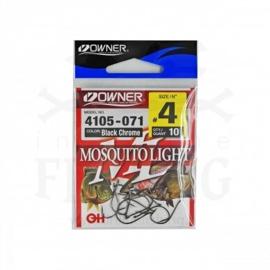 Kabliukai OWNER MOSQUITO Light 4105/4, juodi, #4, 10 vnt