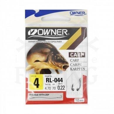 Kabliukai Owner RL044/4 su pavadėliu 70 cm, Ø 0,22 mm, #4, 10 vnt