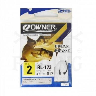 Kabliukai Owner RL173/2 su pavadėliu 70 cm, Ø 0,22 mm, #2, 7 vnt