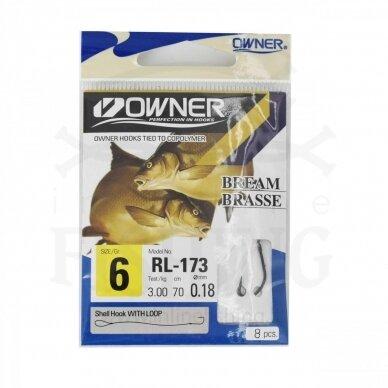 Kabliukai Owner RL173/6 su pavadėliu 70 cm, Ø 0,18 mm, #6, 8 vnt