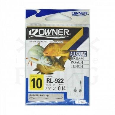 Kabliukai Owner RL922/10 su pavadėliu 70 cm, Ø 0,14 mm, #10, 10 vnt